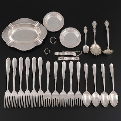 """Reed & Barton """"Silver Wheat"""" Sterling Flatware with Other Assorted Silver"""
