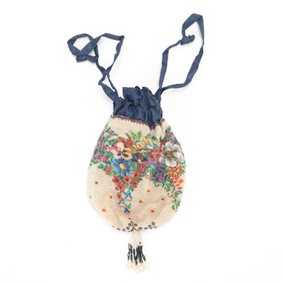 Multicolored Floral Beaded Reticule With Blue Moiré Lining