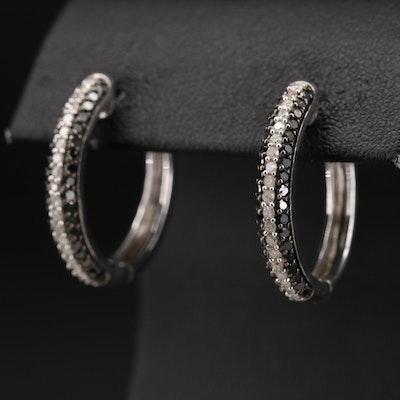 Sterling 1.05 CTW Diamond Hoop Earrings