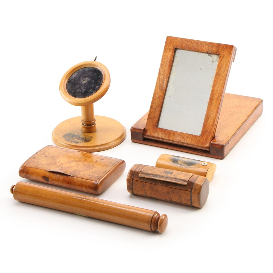 Mauchline Ware Pocket Watch Stand, Match Box and Other Wooden Cases and Mirror