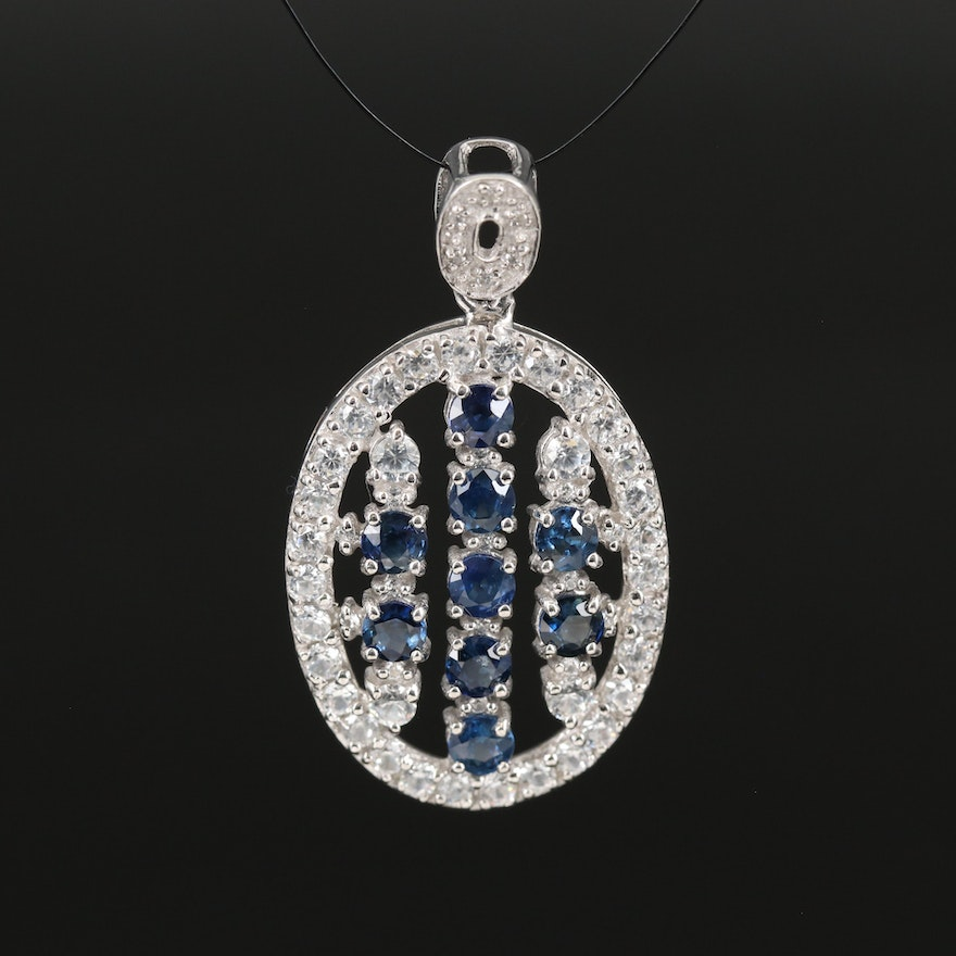 Sterling Sapphire and Zircon Oval Pendant