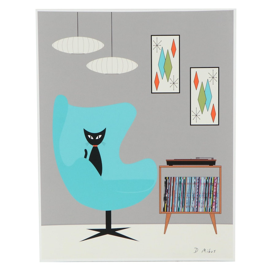 """Donna Mibus Giclée """"Mid Century Record Player With Cat"""""""