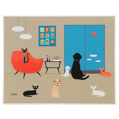 """Donna Mibus Giclée """"Mid Century Modern Dogs and Cats"""""""