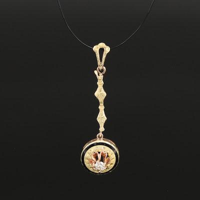 1910s 9K Diamond and Enamel Drop Pendant