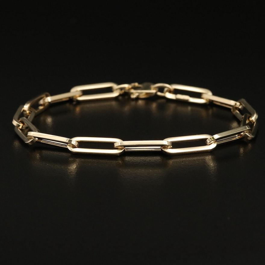 14K Paper Clip Chain Bracelet