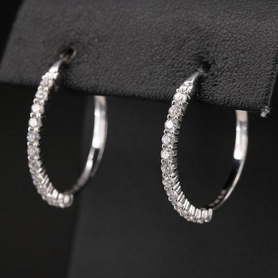 14K 1.04 CTW Diamond Hoop Earrings