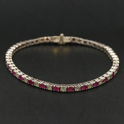 Sterling Ruby and Cubic Zirconia Line Bracelet