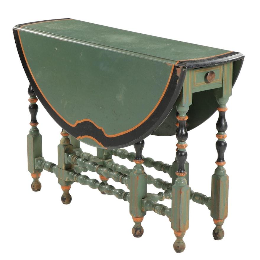 Karpen Furniture Paint-Decorated Gate-Leg Table, circa 1930