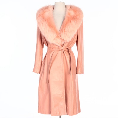 Leather Coat with Tie Belt and Dyed Fox Fur Collar from Lillian's of Cincinnati
