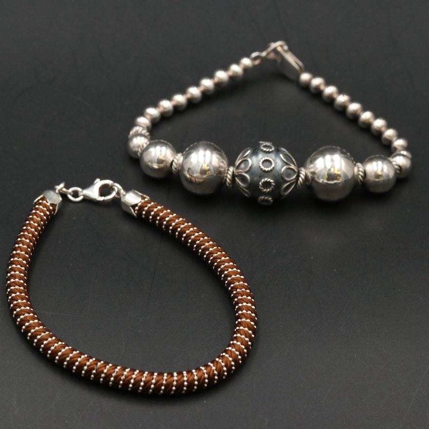 Sterling Beaded Bracelet and Nylon Bracelet