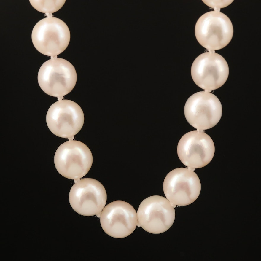 Pearl Necklace with 14K Diamond Clasp