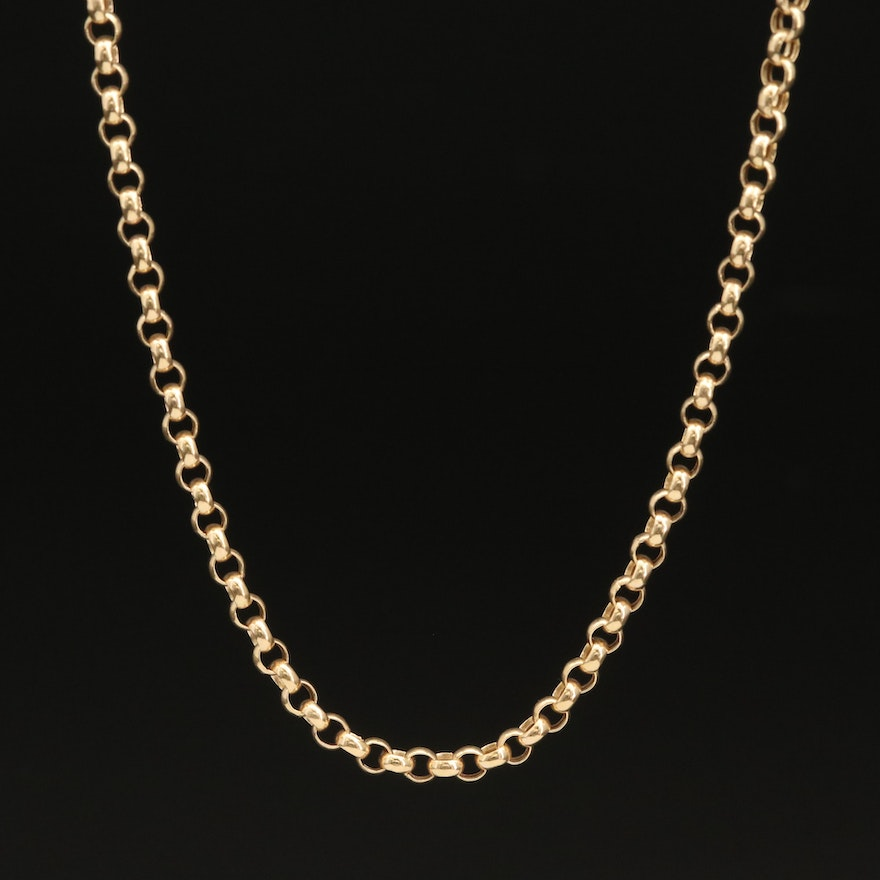 14K Rolo Link Chain Necklace