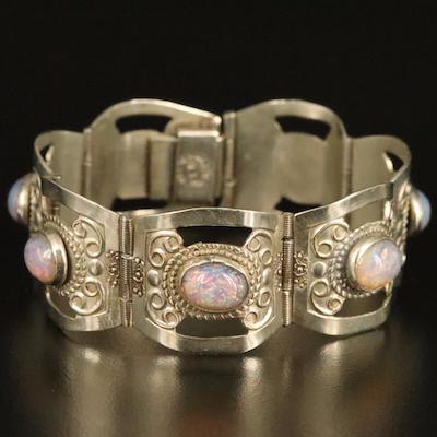 Mexican Sterling Faux Opal Panel Bracelet