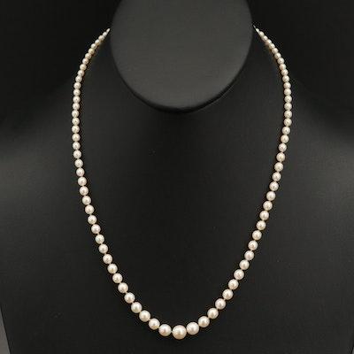 Vintage Graduated Pearl Necklace with Platinum Diamond Clasp