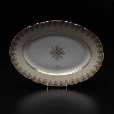 Limoges Porcelain Gilt-Decorated Platter, Mid-20th Century