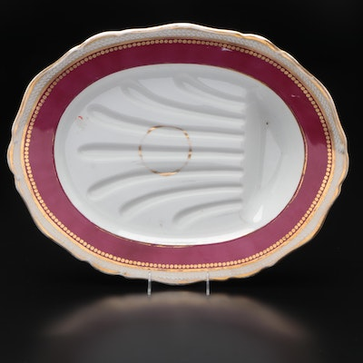 Gilt-Decorated Oval Porcelain Meat-Carving Platter, Early to Mid 20th Century