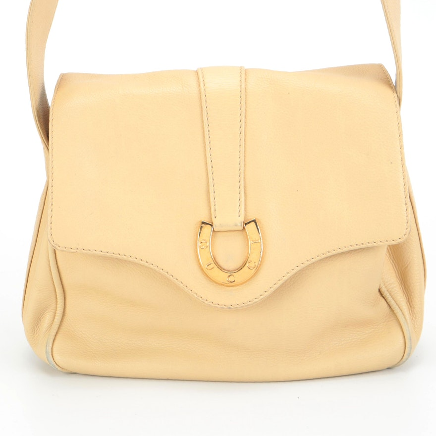 Gucci  Leather Shoulder Bag with Horseshoe Clasp