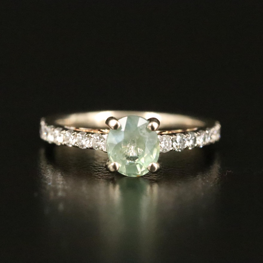18K 1.10 CT Alexandrite and Diamond Ring with GIA Report