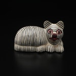 Indonesian Carved and Painted Wooden Cat Statue