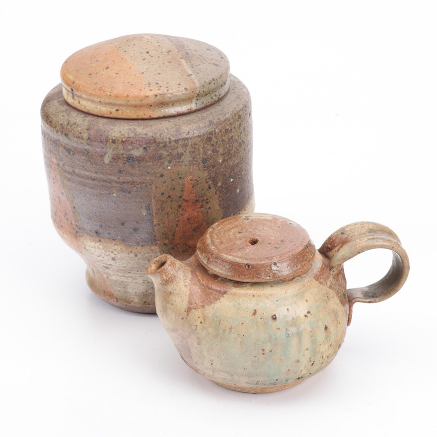 Contemporary Studio Pottery Teapot and Lidded Jar
