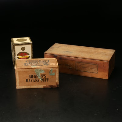 Siegman's Havana Puff Cigar Box, La Corona Cristales Glass Tubes and Soap Crate