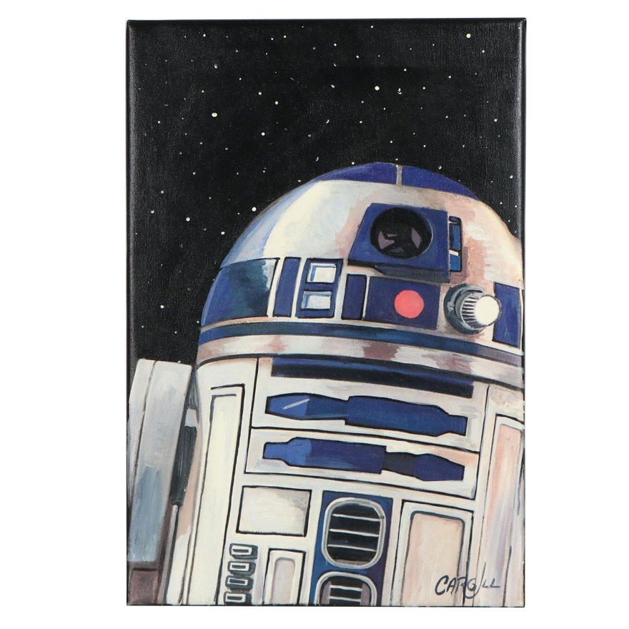 Chris Cargill Pop Art Acrylic Painting of R2-D2