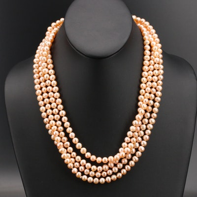 Endless Strand of Oval Peach Pearls