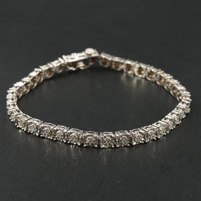 Sterling Diamond Illusion Link Bracelet