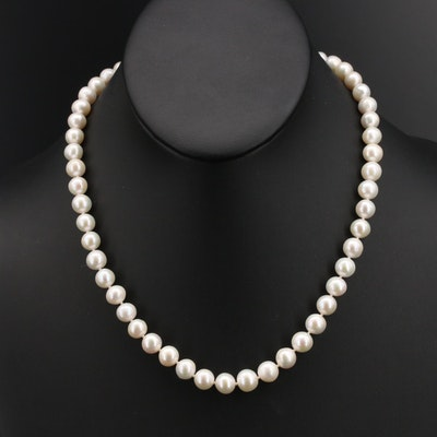 18K Knotted Pearl Necklace