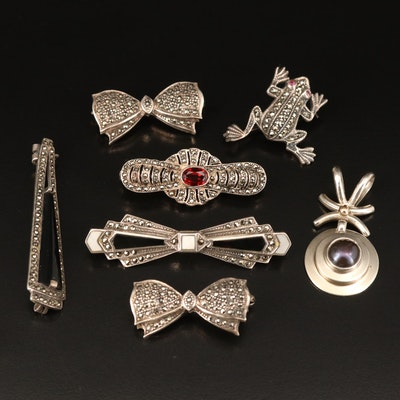 Sterling Brooches and Pendant Including Frogs, Bows, Garnet, Pearl and Marcasite