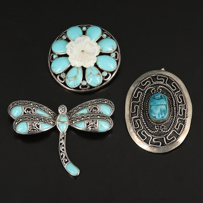 Sterling Silver Dragonfly and Converter Brooches with Faience