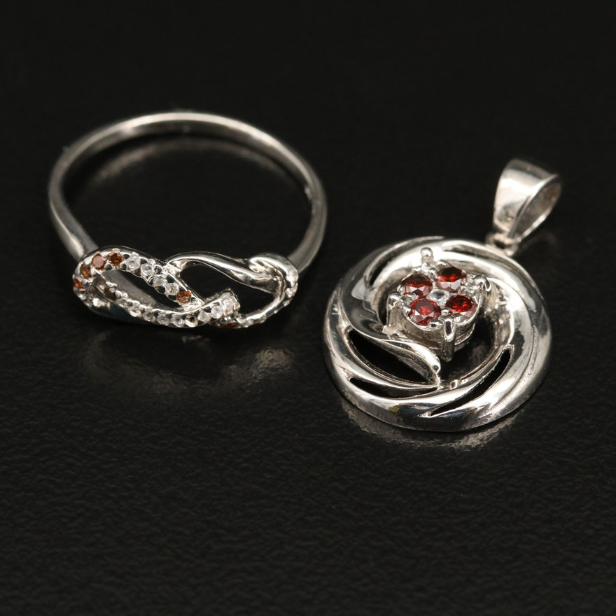 Sterling Silver Diamond and White Zircon Ring and Pendant