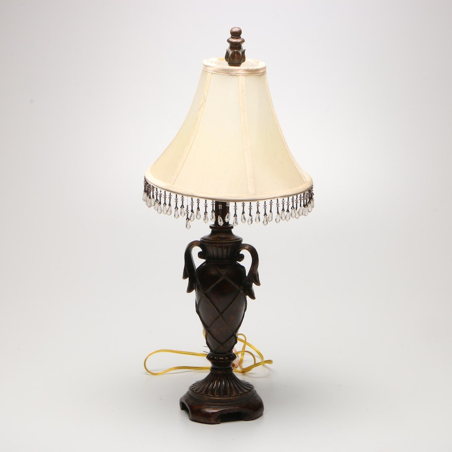 Bronze Finish Composite Lamp with Beaded Shade