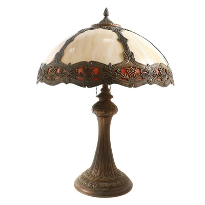 Arts and Crafts Bent Slag Glass Table Lamp, Early 20th Century