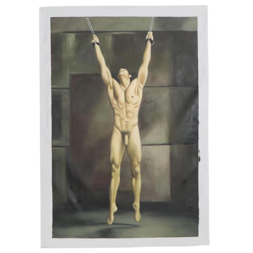 Oil Painting of Male Nude Figure, 21st Century