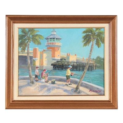 """Mary Mirabito Oil Painting """"Hypoluxo Fisherman,"""" 2021"""