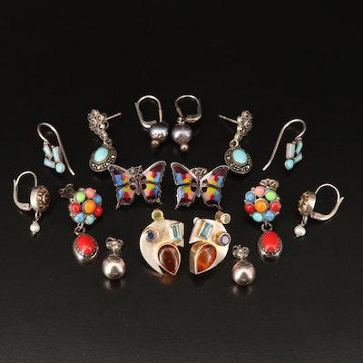 Sterling Earrings Including Denim Lapis Lazuli, Iolite and Topaz