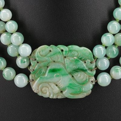 Graduated Multi Strand Jadeite Necklace with Carved Pendant
