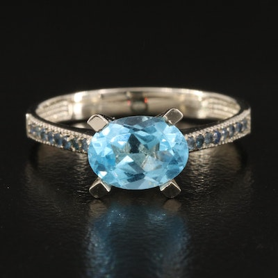 14K Topaz and Sapphire East-West Ring