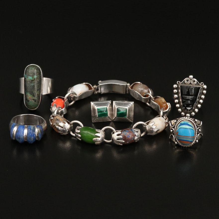 Sterling and 950 Silver Jewelry Including Agate