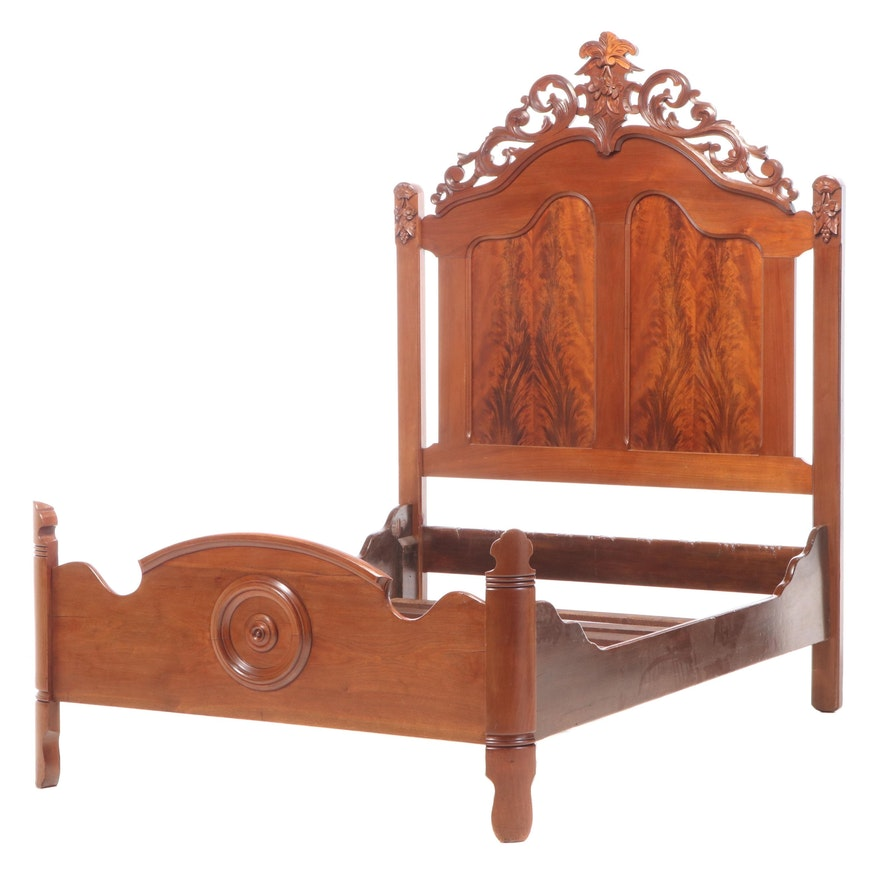 Victorian Renaissance Revival Flame Mahogany Full Bed Frame, Late 19th Century