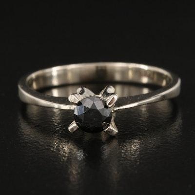 14K 0.40 CT Black Diamond Solitaire Ring