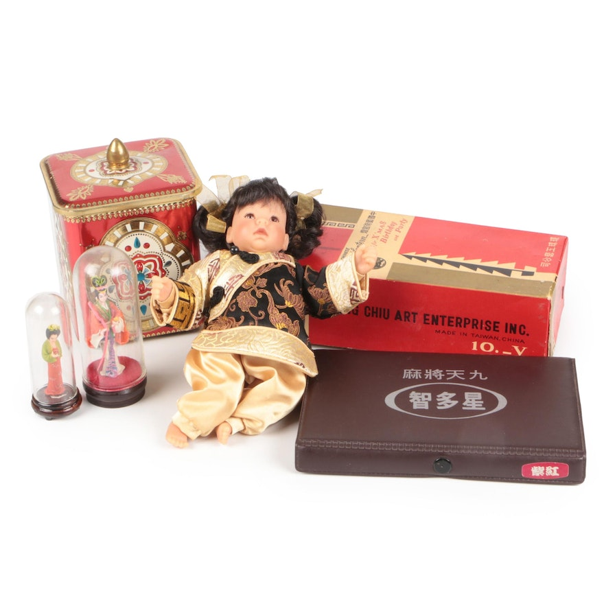 Chinese Doll, Lanterns, Canister, Dominoes, and Figurines