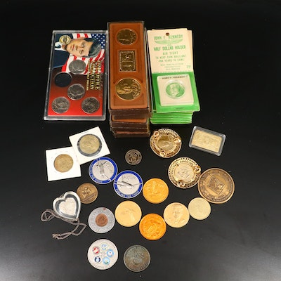 Collection of John F. Kennedy Commemorative Medals, Coins, and More