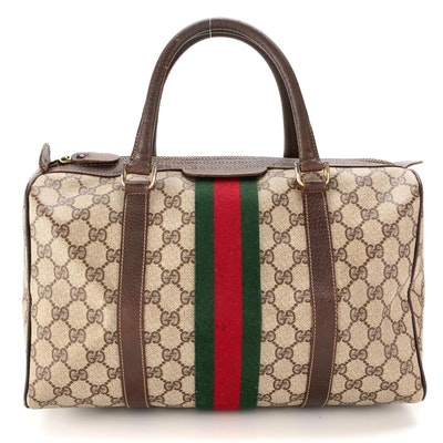 Gucci Accessories Collection Web Boston Bag in GG Supreme Canvas and Leather