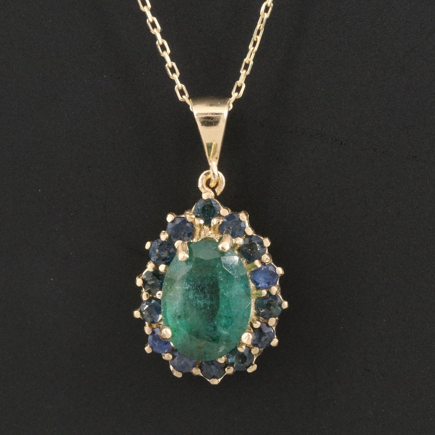 14K Emerald and Sapphire Halo Pendant Necklace