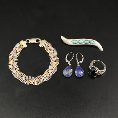 Sterling Jewelry with Braided Bracelet and Drop Earrings