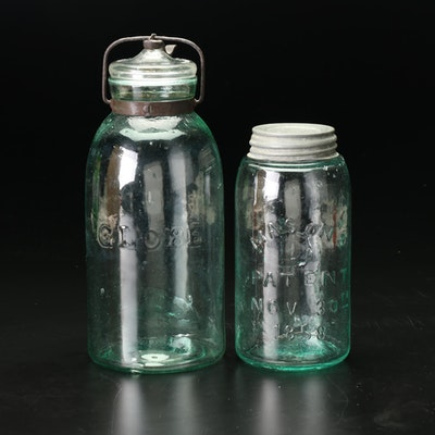 Globe and Ball Blue Glass Mason Jars With Lids, Early to Mid 20th Century