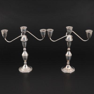 Duchin Creation Weighted Sterling Silver Candelabra, Mid-20th Century.