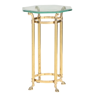 Hollywood Regency Style Brass and Glass Top Side Table, Manner of La Barge